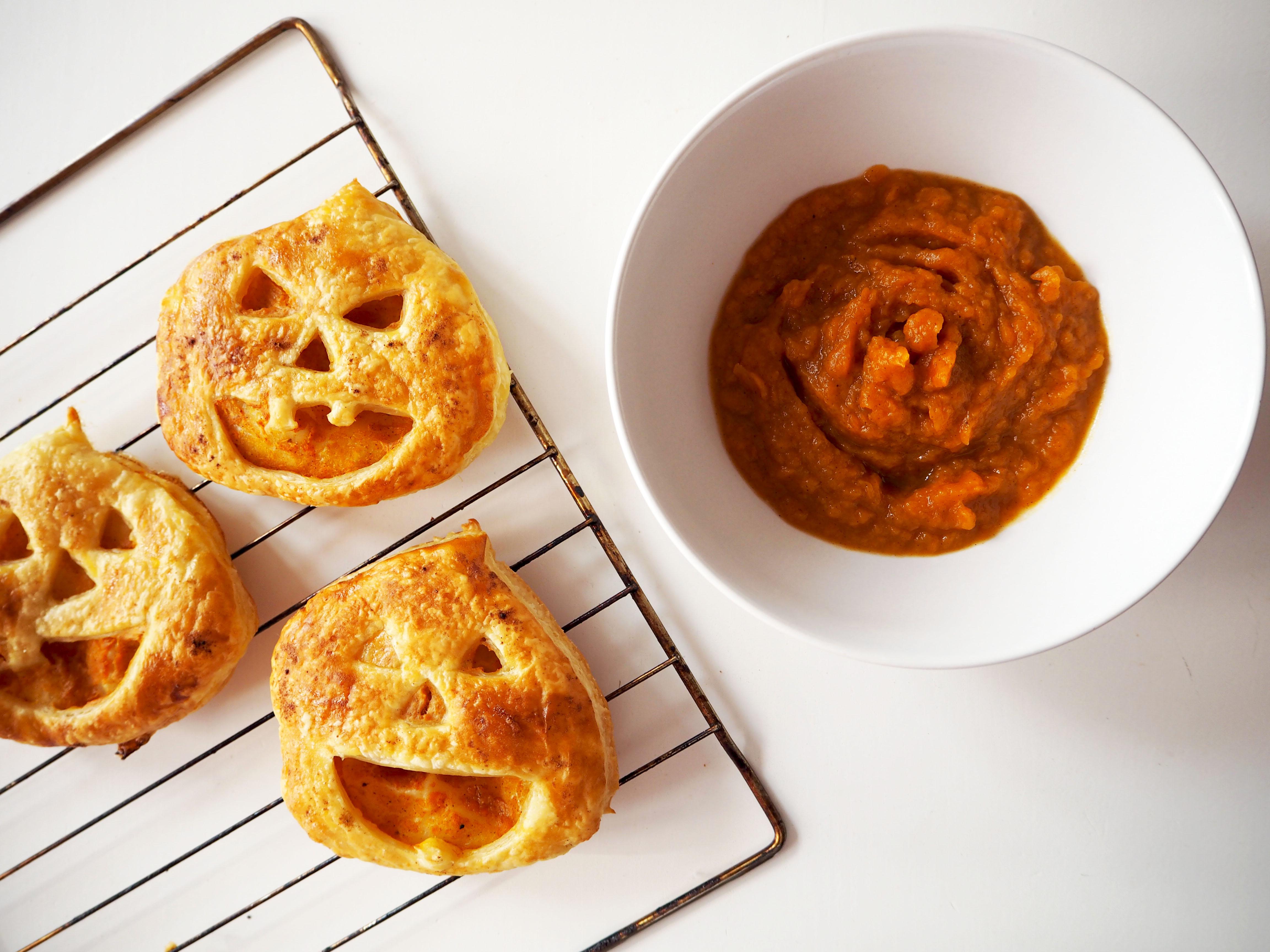 jack-o'-lantern met pompoenpuree en pumpkin spice