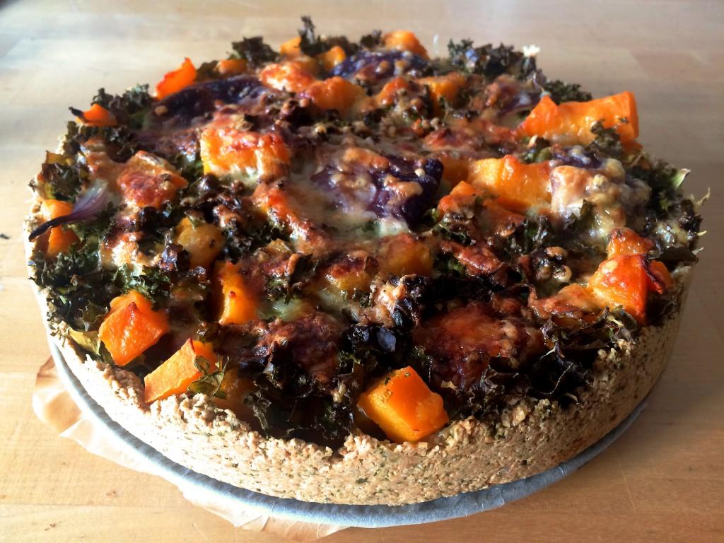 Glutenvrije quiche met pompoen en boerenkool