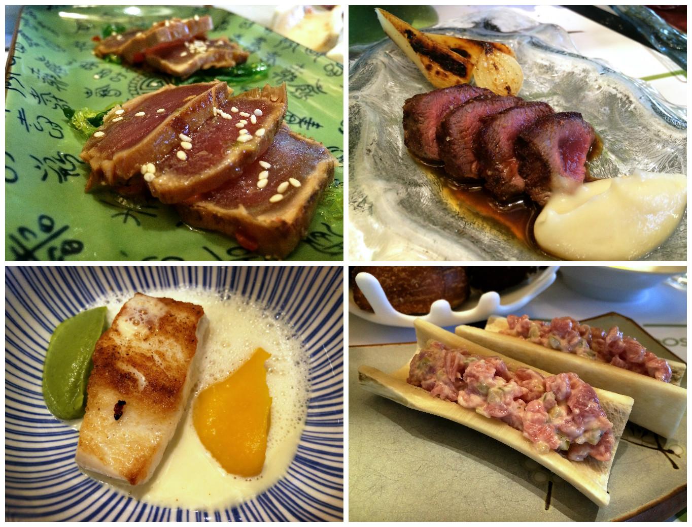 Hierboven zie je de Tataki, De ree met jus van kruidkoek, de zeebaars en de kalfstartaar.