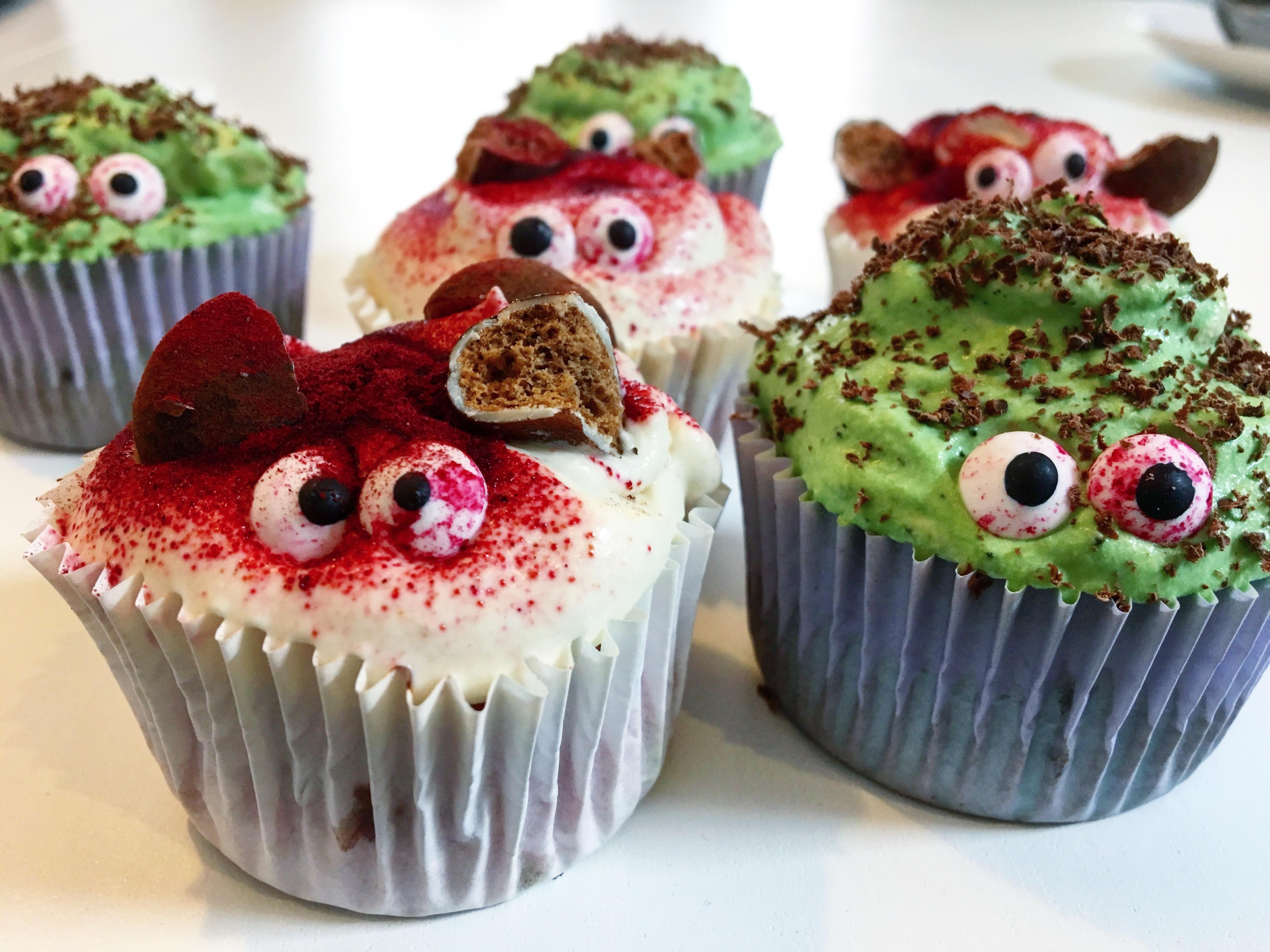 Griezelig schattige cupcakes