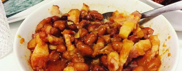 sambal goreng bruine bonen met spek