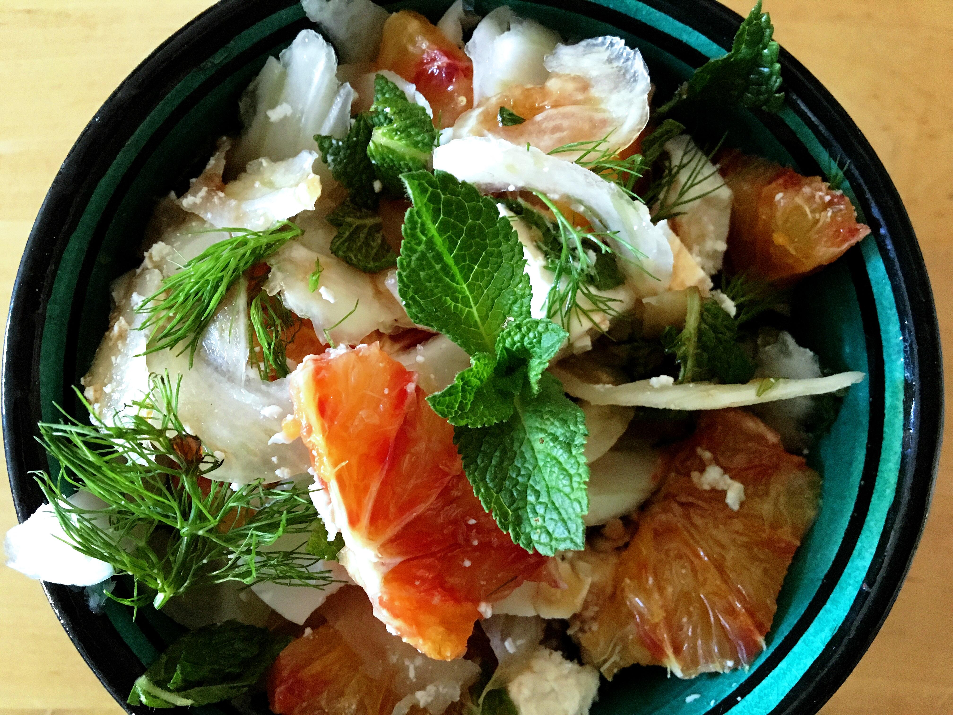 Salade van venkel, bloedsinaasappel en fetakaas