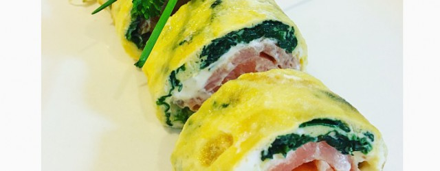 eggrolls met spinazie, zalm en philadelphia