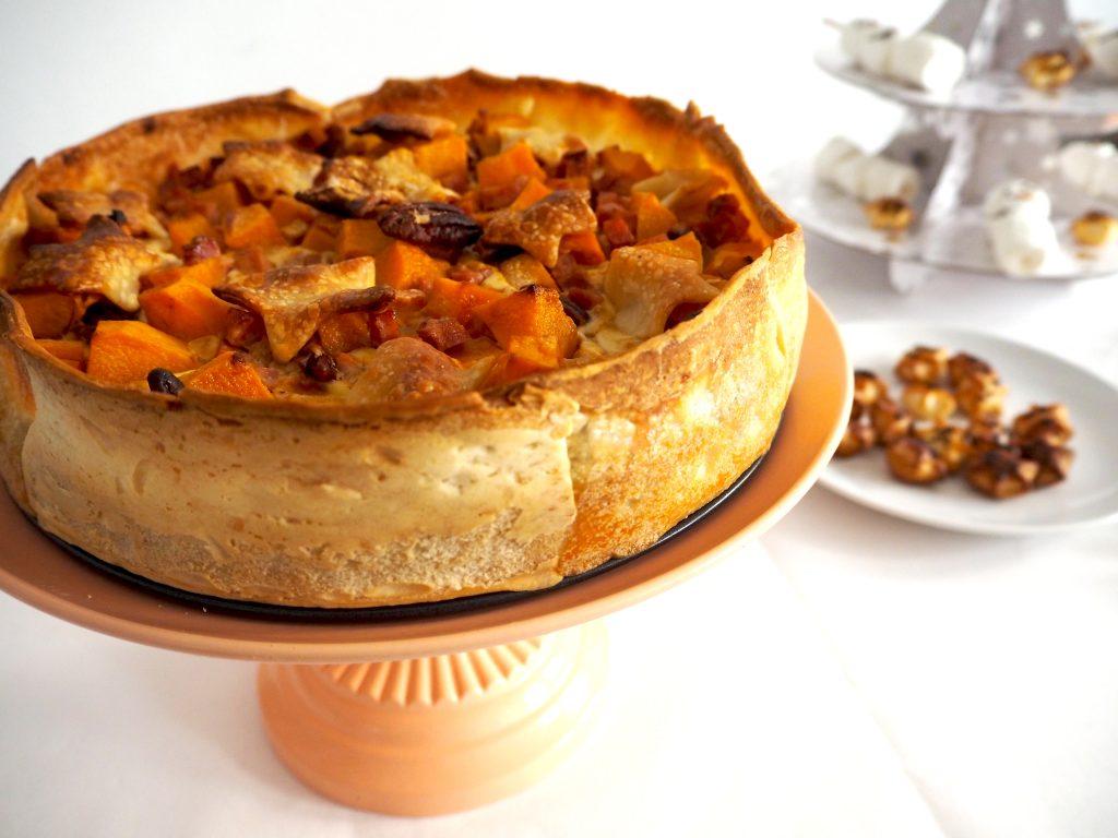 pompoentaart met ham en pecannoten – hartige taart