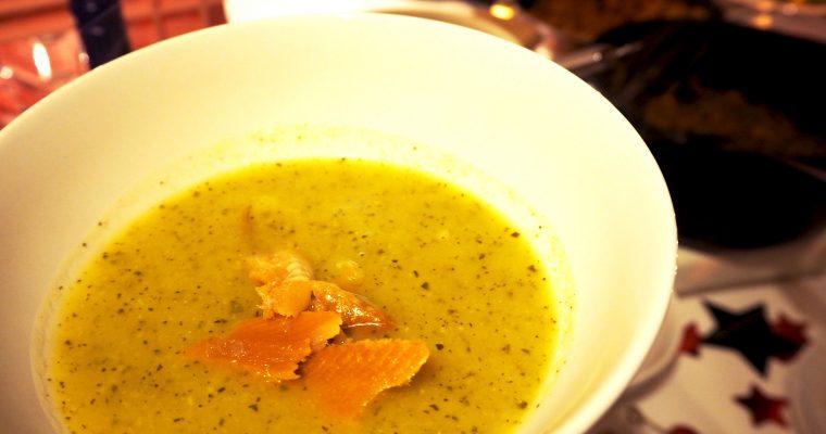 Courgettesoep met knolselderij en gerookte haring