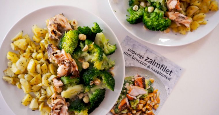 zalmfilet met broccoli en hazelnoten