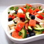 salade met watermeloen, feta en blauwe bessen