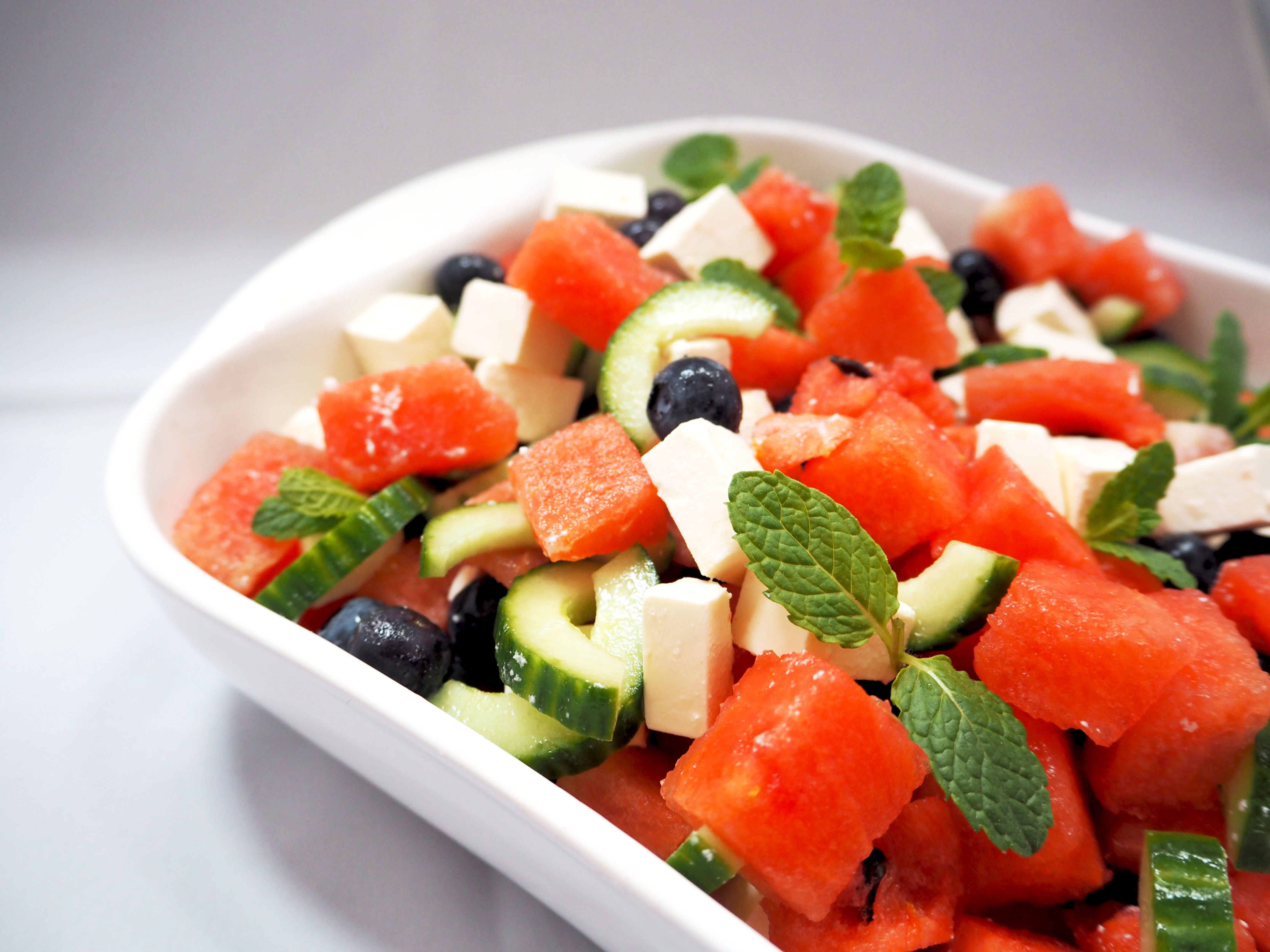 watermeloen salade met blauwe bessen