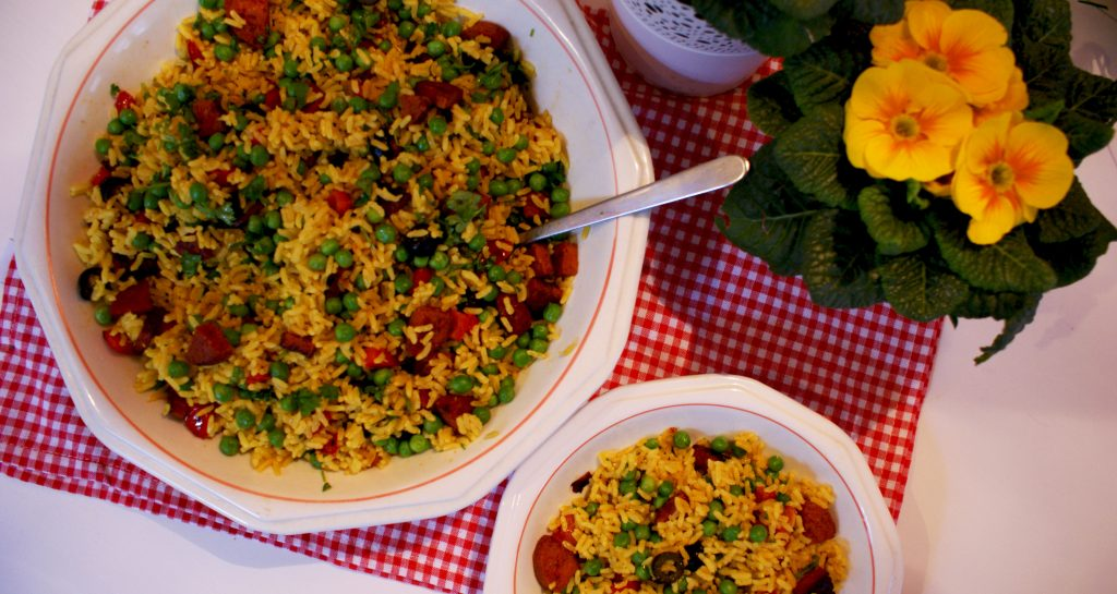 Heerlijke rijstsalade met chorizo