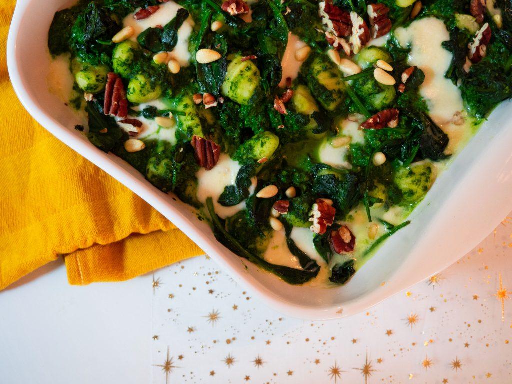 gnocchi uit oven met pesto van spinazie